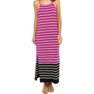 New Sleeveless Magnet Stripe Maxi Dress
